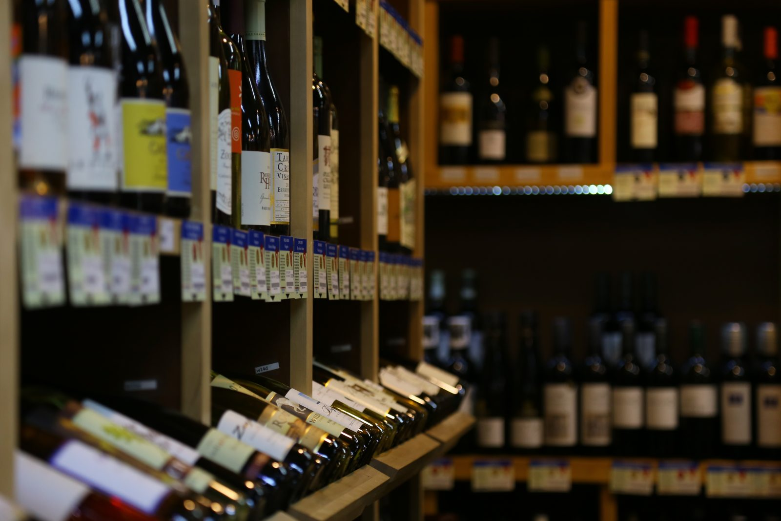 Bottles of wine for sale in store